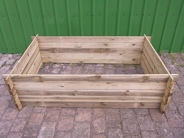 stabiler Holzkomposter Komposter Kompostbehälter Hochbeet 195 x 120 x 52 cm Bambus-Internethandel Leipzig