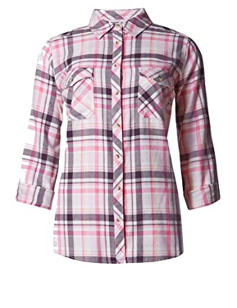 244f5990 Marks and Spencer Pure Cotton Checked Shirt 9775 Pink Womens M&S (14 ...