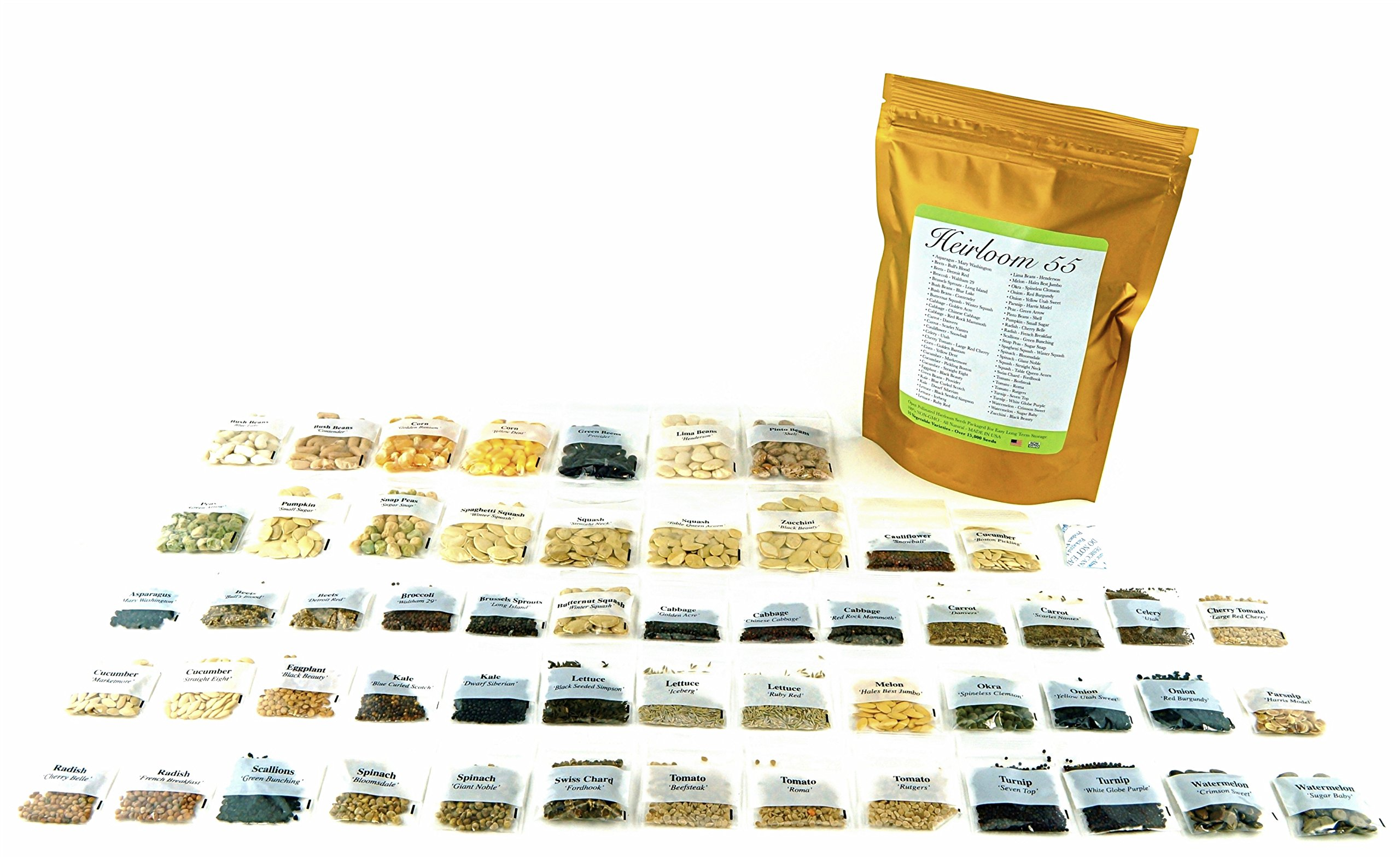 Heirloom Seed Bank with 55 Varieties of Vegetable seeds by Heirloom Futures. 100% NON GMO Open Pollinated Non-Hybrid Naturally Grown Premium USA Seed Stock for All Gardeners. by Heirloom Futures (Image #3)