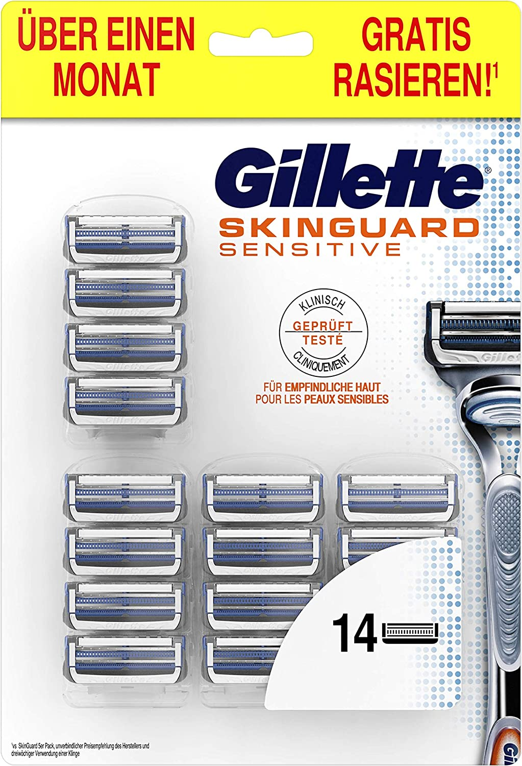 Gillette SkinGuard Sensitive Pack for Men with Spare Blades and Razor 14 Replacement Razor Blades