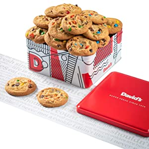 David's Cookies - 24 Fresh Baked M&M Candy Cookie Gourmet Gift Basket - Christmas, Holiday & Corporate Food Tin - Idea For Men & Women - Certified Kosher - 2 lb.
