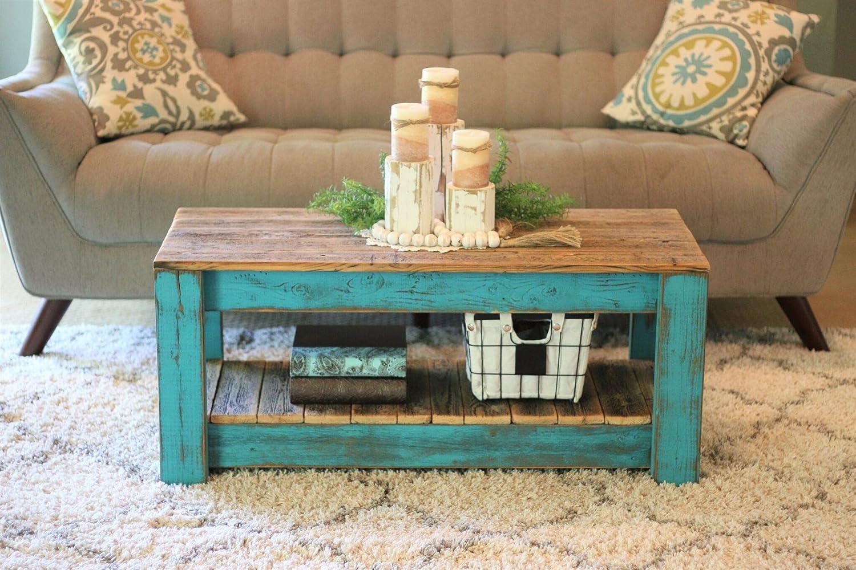 turquoise combo coffee table with shelf