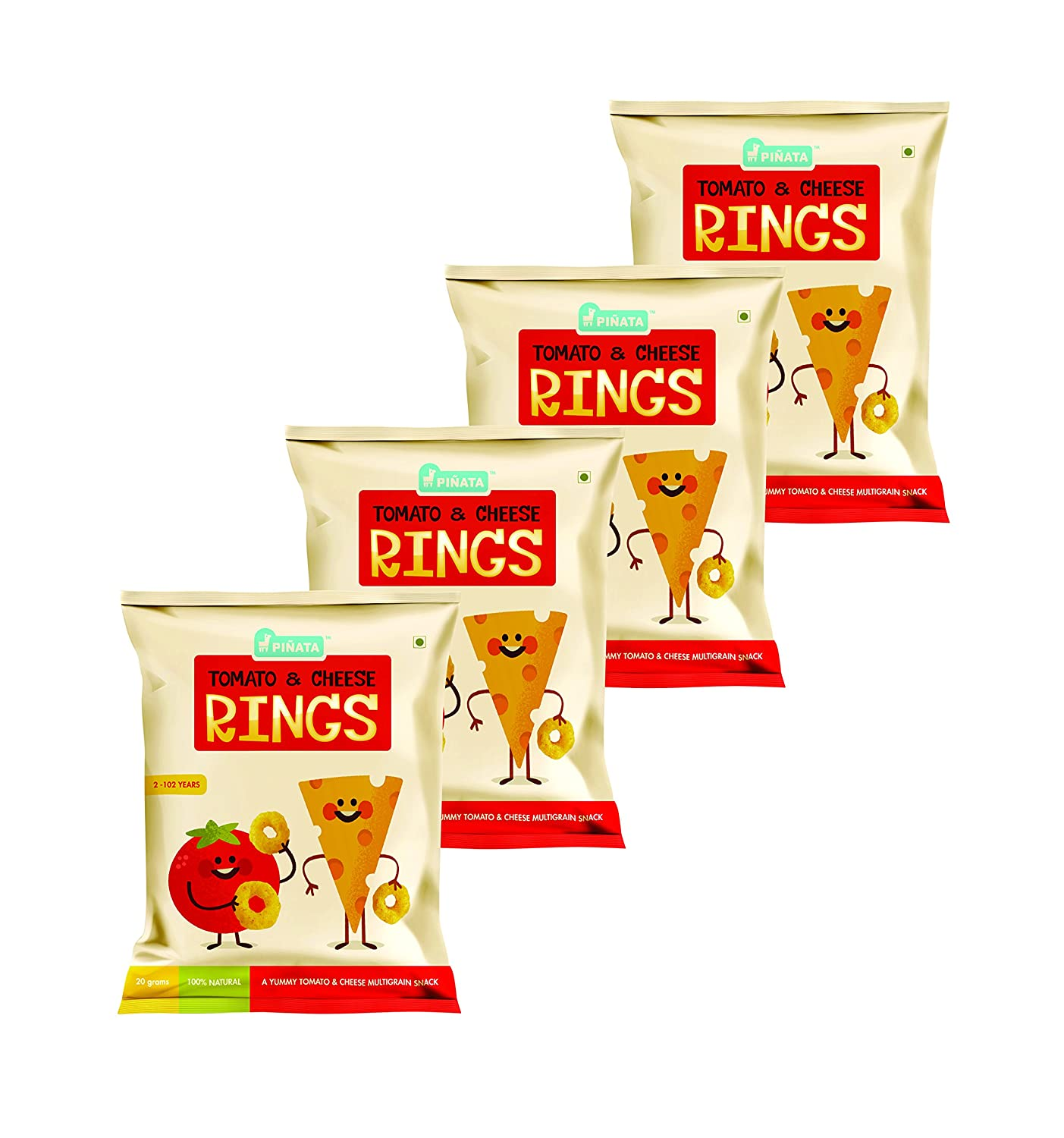 Pinata - 2+ Years - Kids Snack - Tomato & Cheese Rings Pack of 4