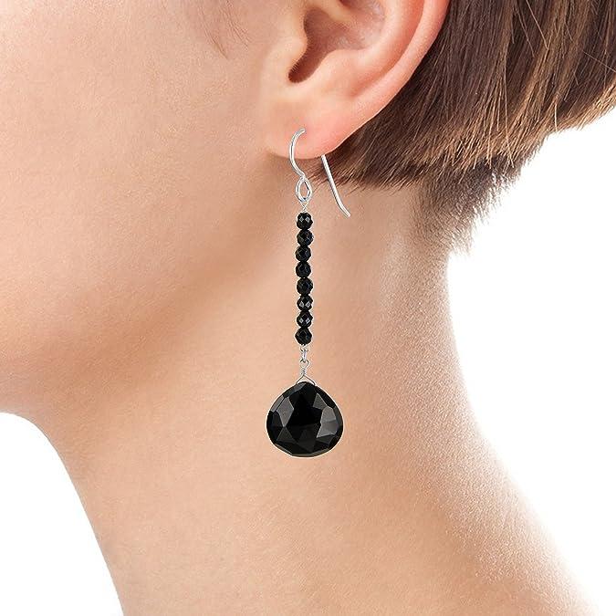 Elegant Black Onyx Gemstone Pretty Dangle Earring 925 Sterling Silver Handmade Women Drop /& Dangle Earrings Jewelry Length 1.8-ae3365