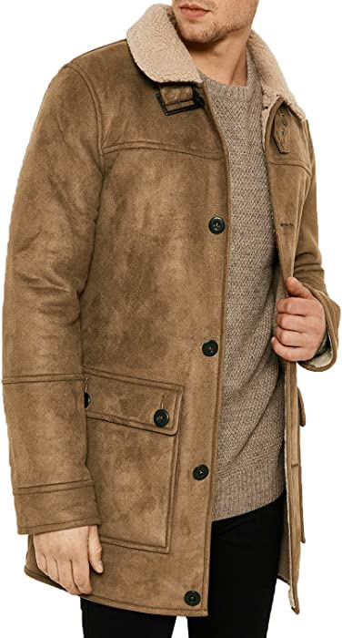 ca1e29733b0c Mens Threadbare Faux Suede Borg Fleece Lined Long Trench Coat. Back.  Double-tap to zoom