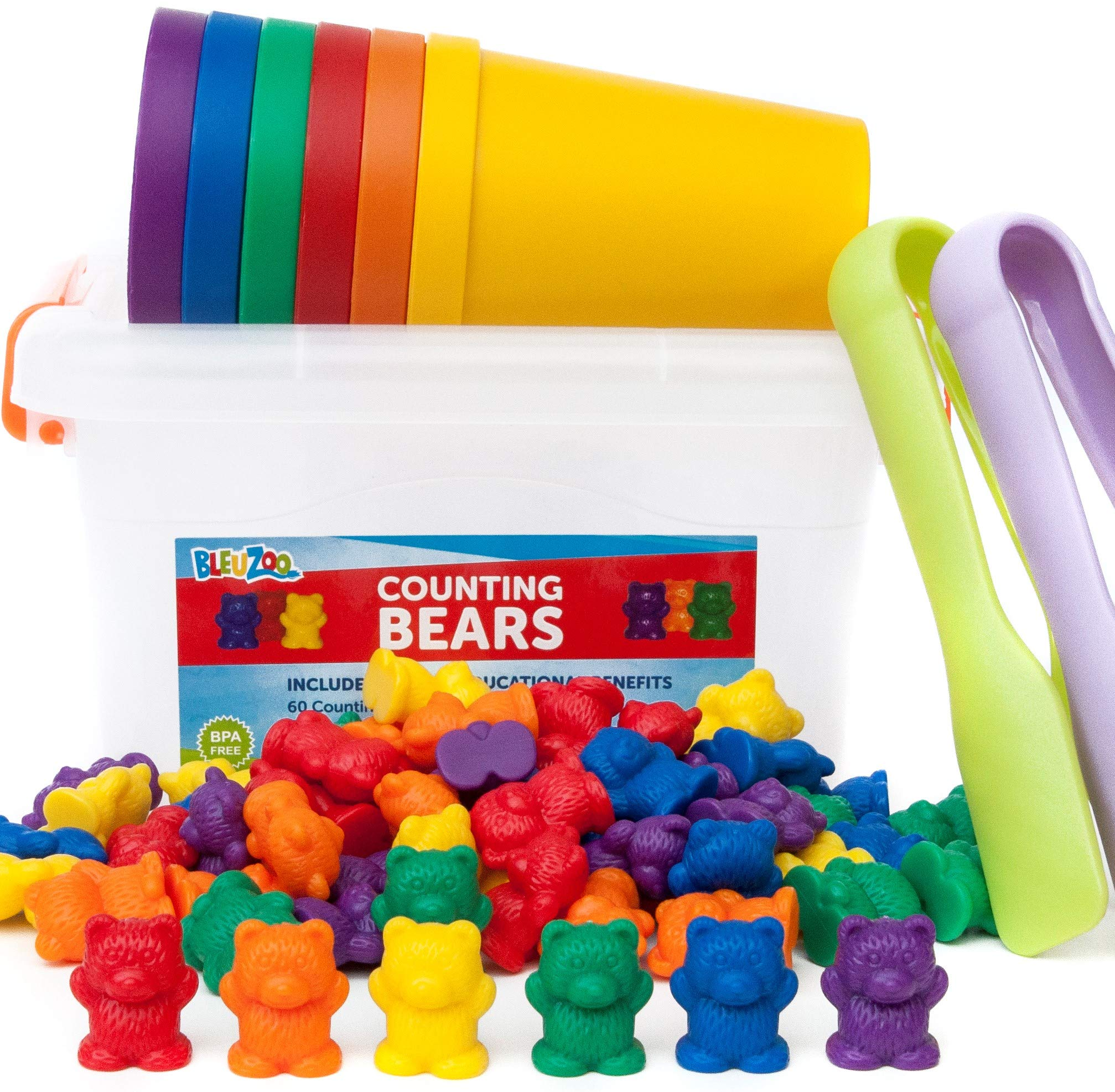 BleuZoo Rainbow Counting Bears + Activity eBook | Montessori Educational Toddler STEM Fine Motor Skills Toys Occupational Therapy Math Sorting Toys | 60 Bears, 6 Matching Cups, 2 Tweezers, Container by BleuZoo