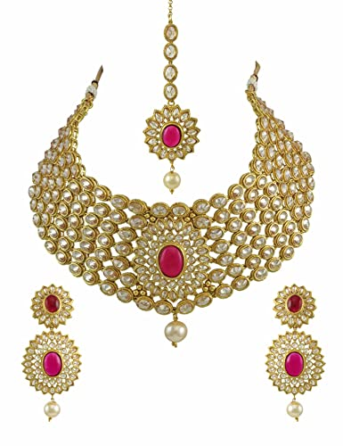 b845d1c5f5f Buy Bridal Dark Pink Polki Stones Necklace Set with Maang Tika Jewellery  for Women - Orniza Online at Low Prices in India