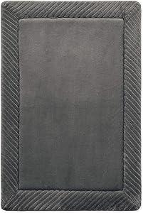 Microdry 16x24 Habitude Flannel Border Memory Foam Skid-Resistant Bath Mat, 16