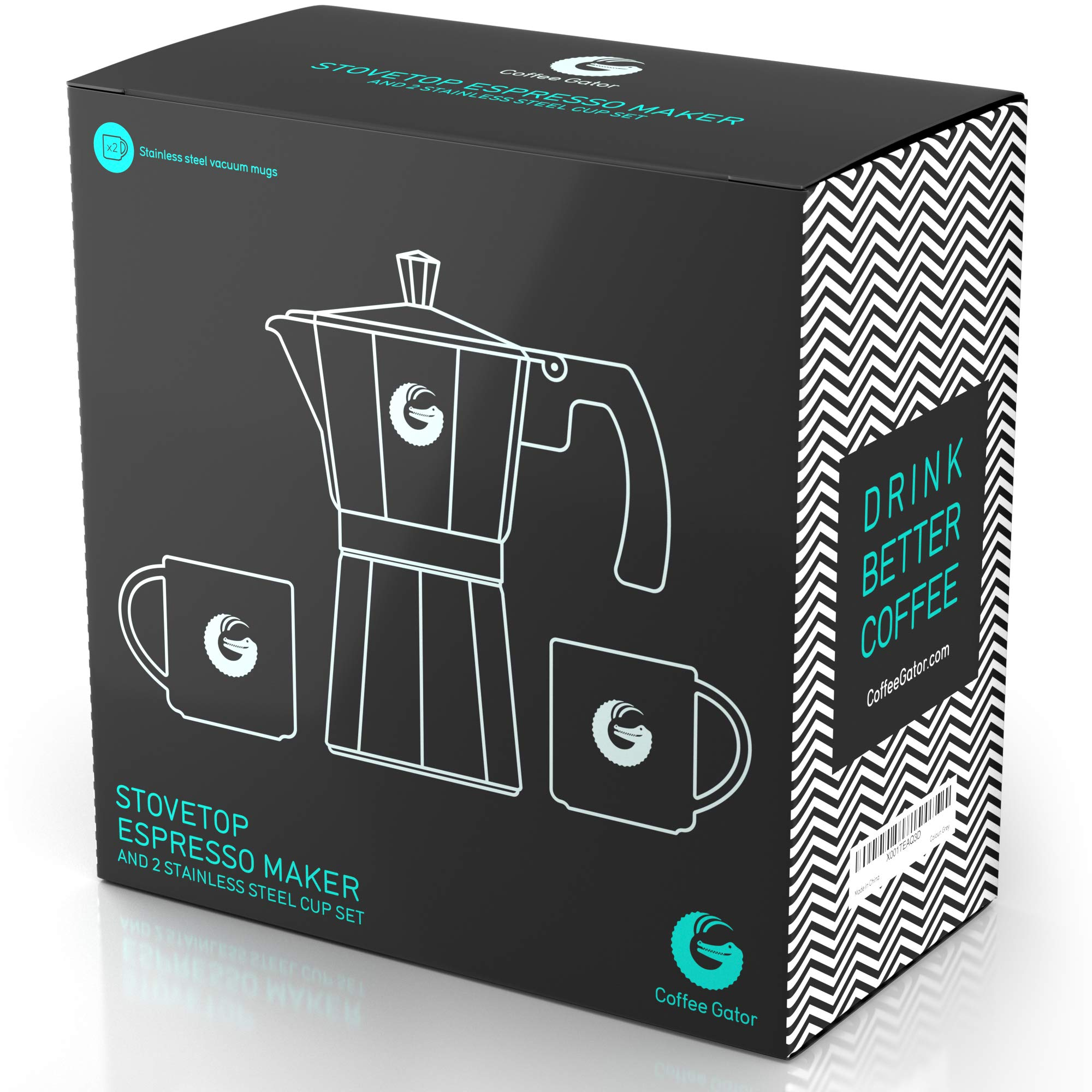 Coffee Gator Espresso Moka Pot - Stovetop Brewer Plus 2 Thermal Cups - 12 Ounce by Coffee Gator (Image #9)