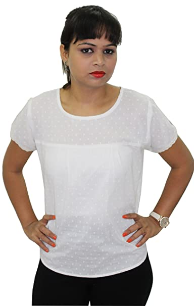 ada4028387bee8 Karly Short Sleeve V Neck Top WHITE 2 Source · Gugi Designs Off White  Colored Cotton Fabric Dots Pattern Casual