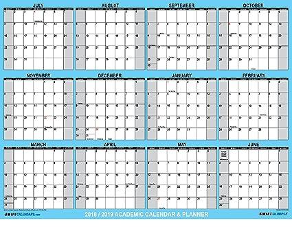 Large Calendar 2019 Amazon.: SwiftGlimpse 2018 2019 Academic Wall Calendar