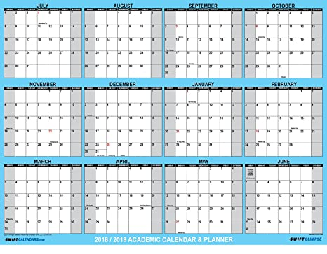 swiftglimpse 2018 2019 academic wall calendar erasable large jumbo oversized wet dry erase laminated