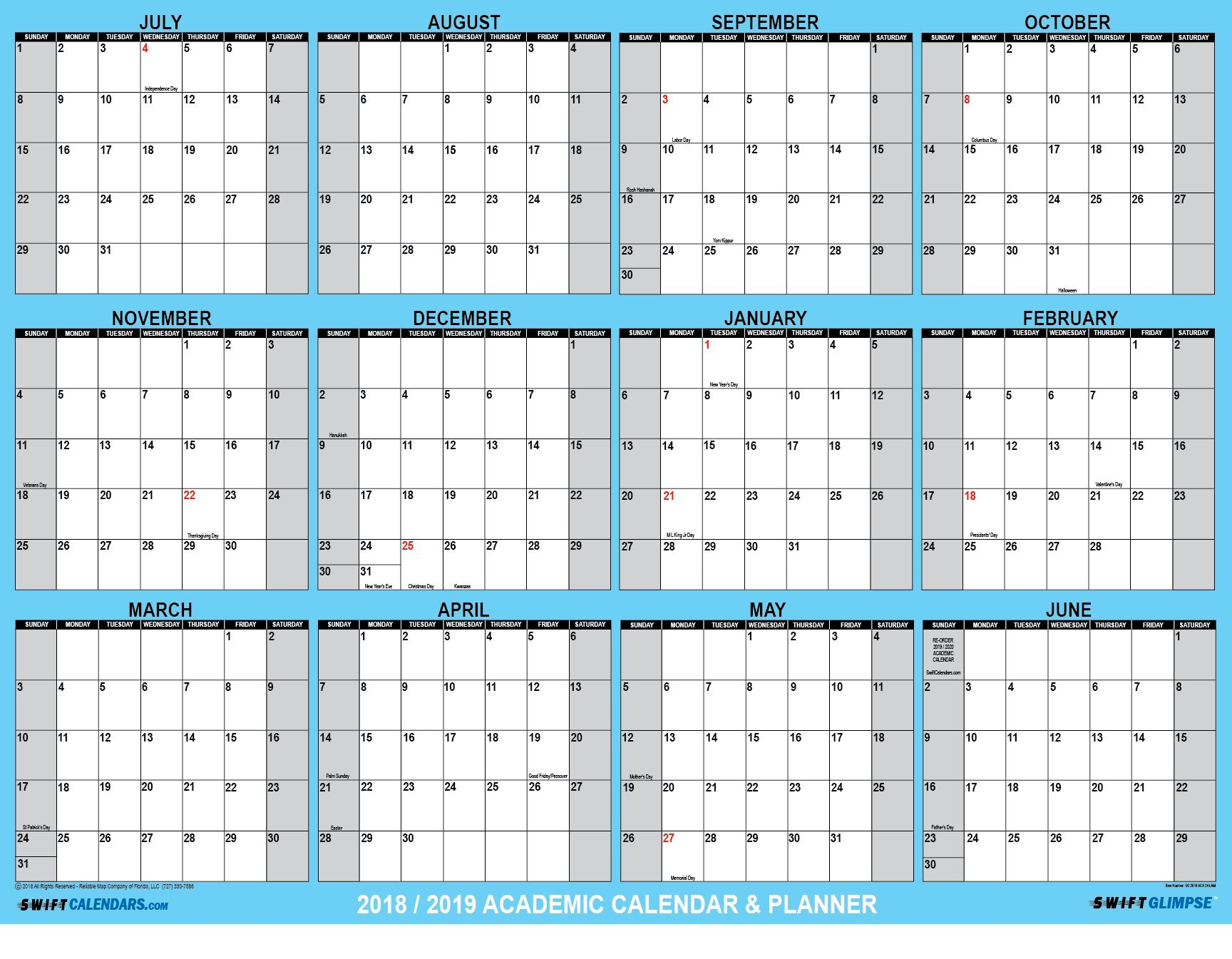 SwiftGlimpse 2018-2019 Academic Wall Calendar Erasable Large Jumbo Oversized Wet & Dry Erase Laminated 12 Month Planner, June - July - CLASSIC BLUE (32x48 Horizontal)