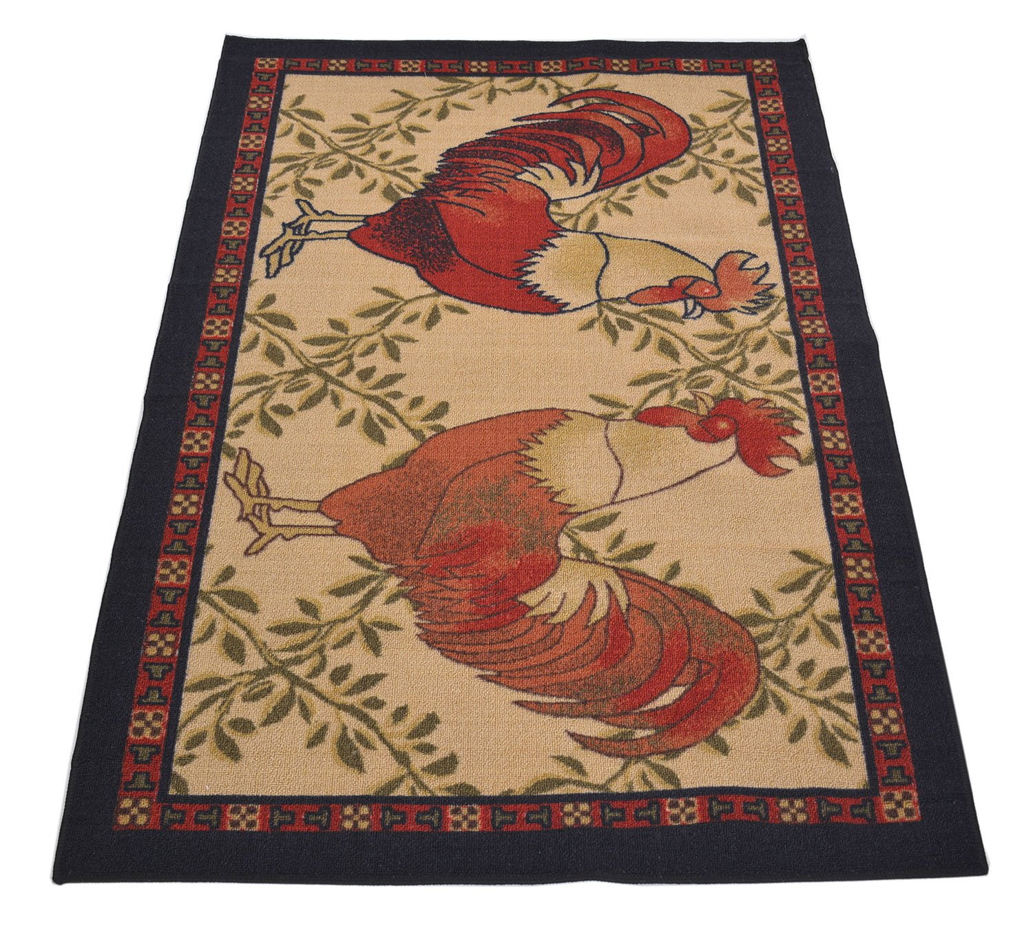 Kitchen Collection Rooster Beige Multi-Color Printed Slip Resistant Rubber Back Latex Contemporary French Country Kitchen Area Rug (Rooster, 3