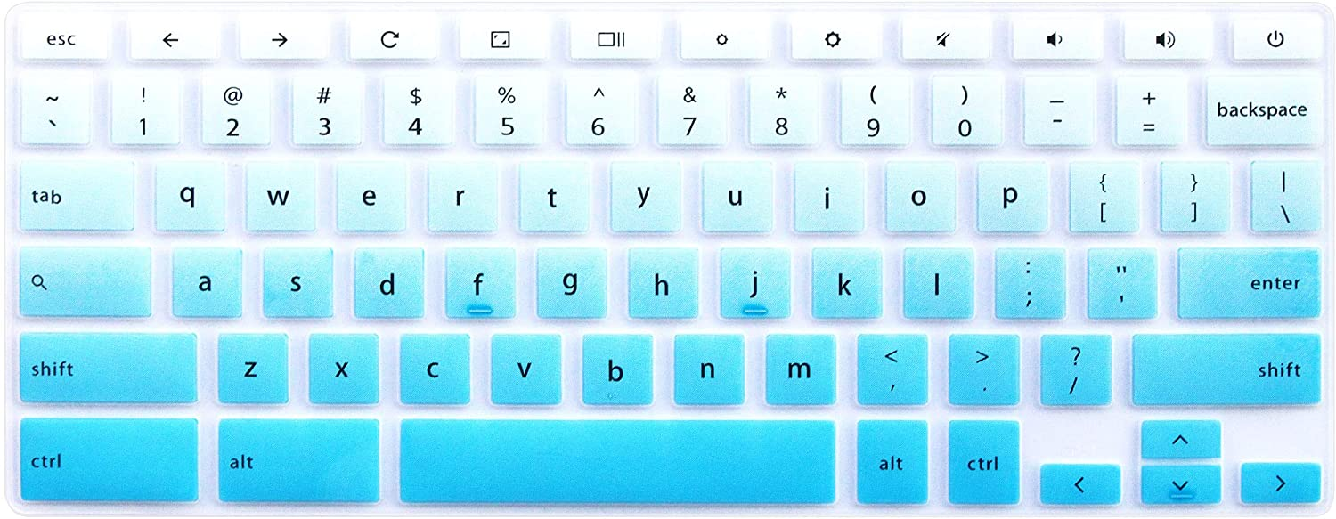 """Keyboard Skin for Dell Inspiron 11.6"""" Chromebook 3100 C3181 P22T & Dell Chromebook 11 3120 3180 3181 3189 5190 & Dell Chromebook 13 3380 (Not fit Dell Inspiron 11 3180 Windows Laptop) (Blue Ombre)"""