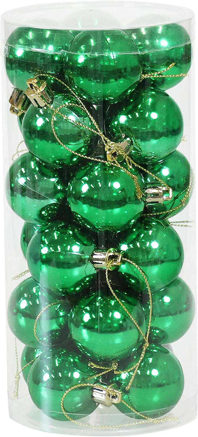 Sunnydaze 24-Count 40mm Shatterproof Christmas Ball Ornaments with Hooks Included - Merry and Bright Tree Decorations Set for Holiday Decor and Gatherings - Green
