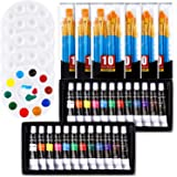 Acrylic Painting Set with 6 Packs / 60 pcs Nylon Hair Brushes 5 PCS Paint Plates and 2 PCS of 12ml Acrylic Paint in 12 Colors