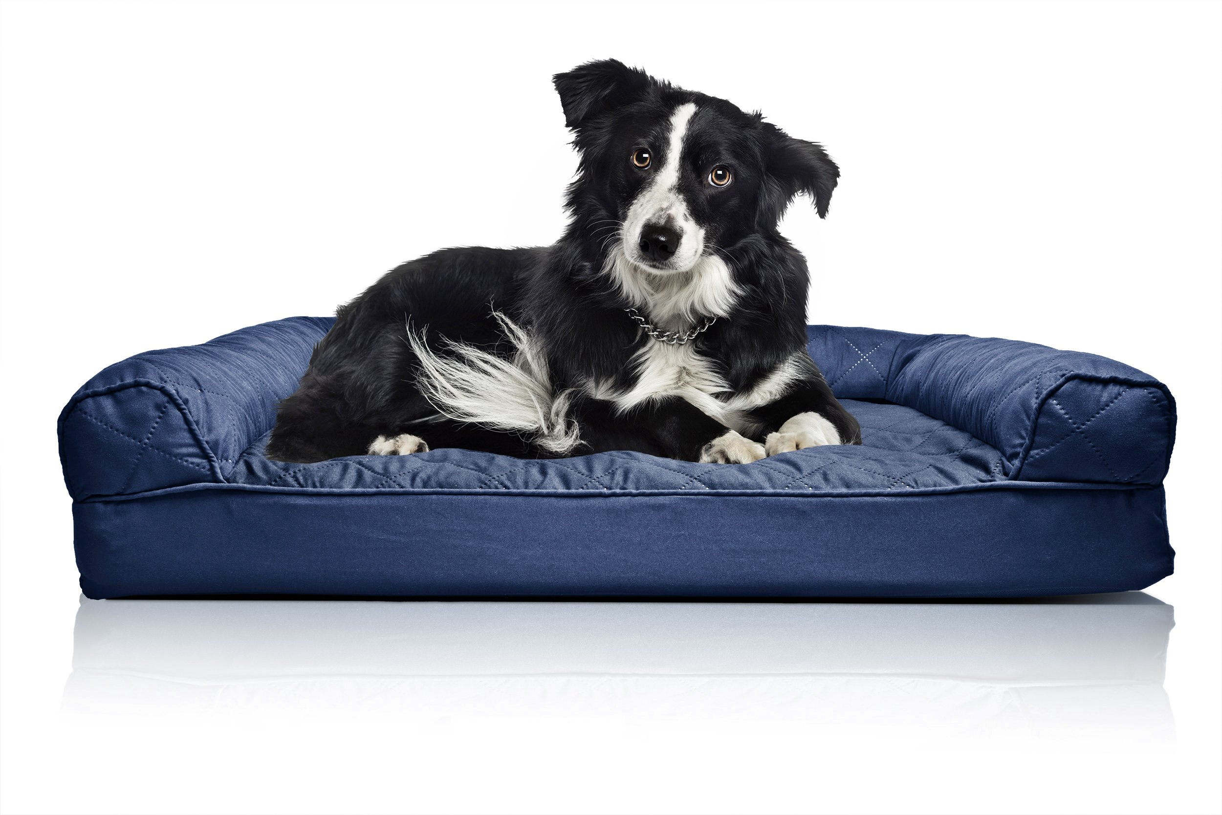 Furhaven Pet Orthopedic Quilted Sofa-Style Couch Pet Bed for Dogs and Cats, Navy, Large
