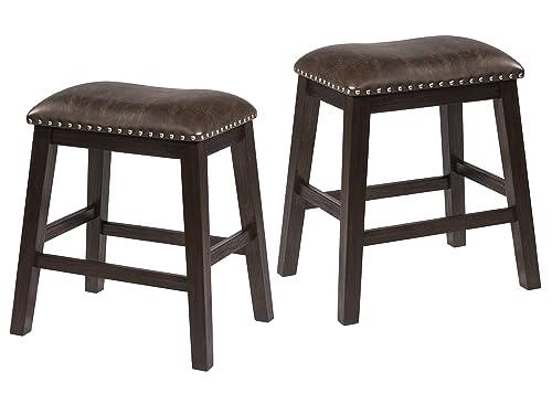 Hillsdale Furniture Spencer Dining Stools, Set of 2, Dark Espresso Wire brush