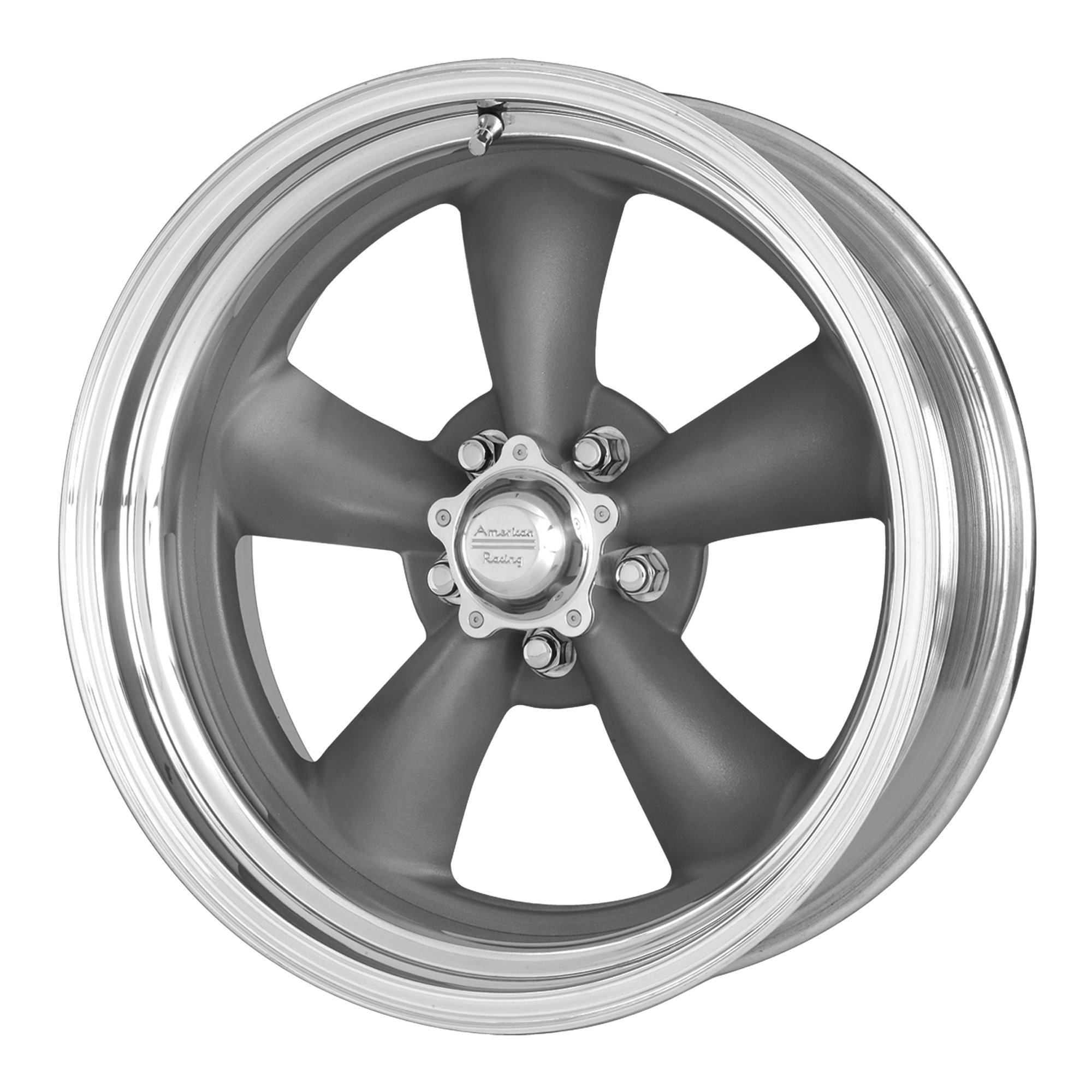 American Racing VN215 Classic Torq Thrust II 1 Pc Mag Gray Wheel with Center Polished Barrel (17x7''/5x120.7mm, 00mm offset)