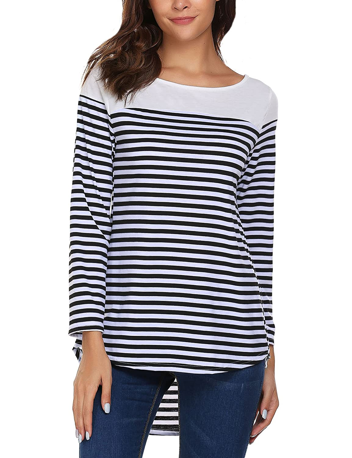 Meaneor Women Striped Blouse Flared Comfy T-Shirt Long Sleeve Tunic
