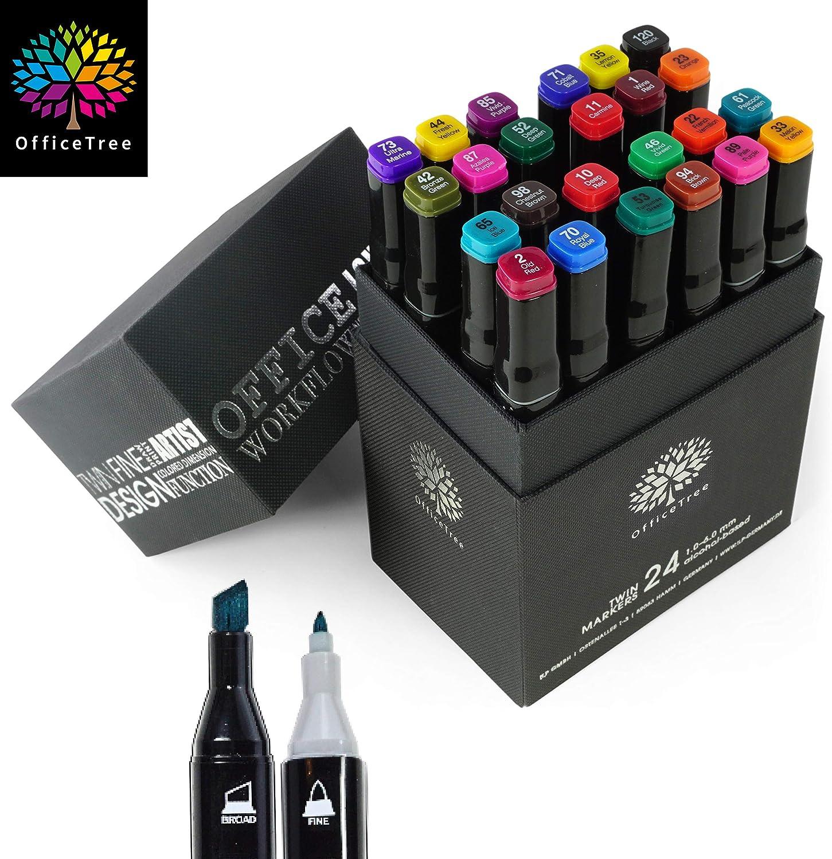 Moritz & Moritz Set con 24 Marcadores de Fibra Touch Twin Marker - Colores Intensos - para Diseño, Bocetos, Ilustraciones, Dibujo