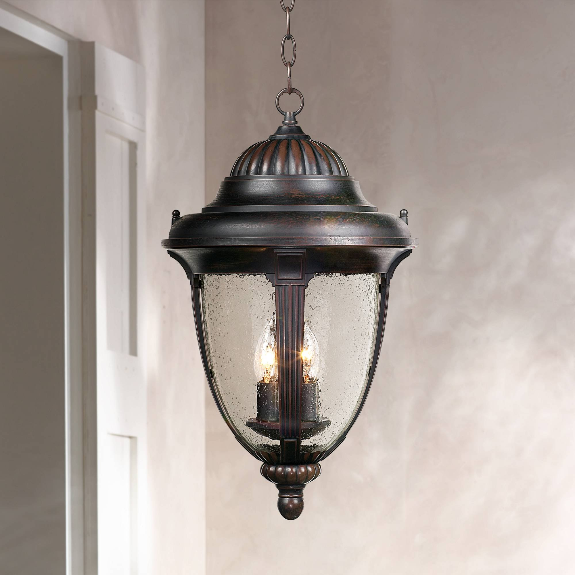 Casa Sierra Traditional Outdoor Ceiling Light Hanging Lantern Bronze 20 1/2'' Seedy Glass Damp Rated for Exterior Porch Patio - John Timberland