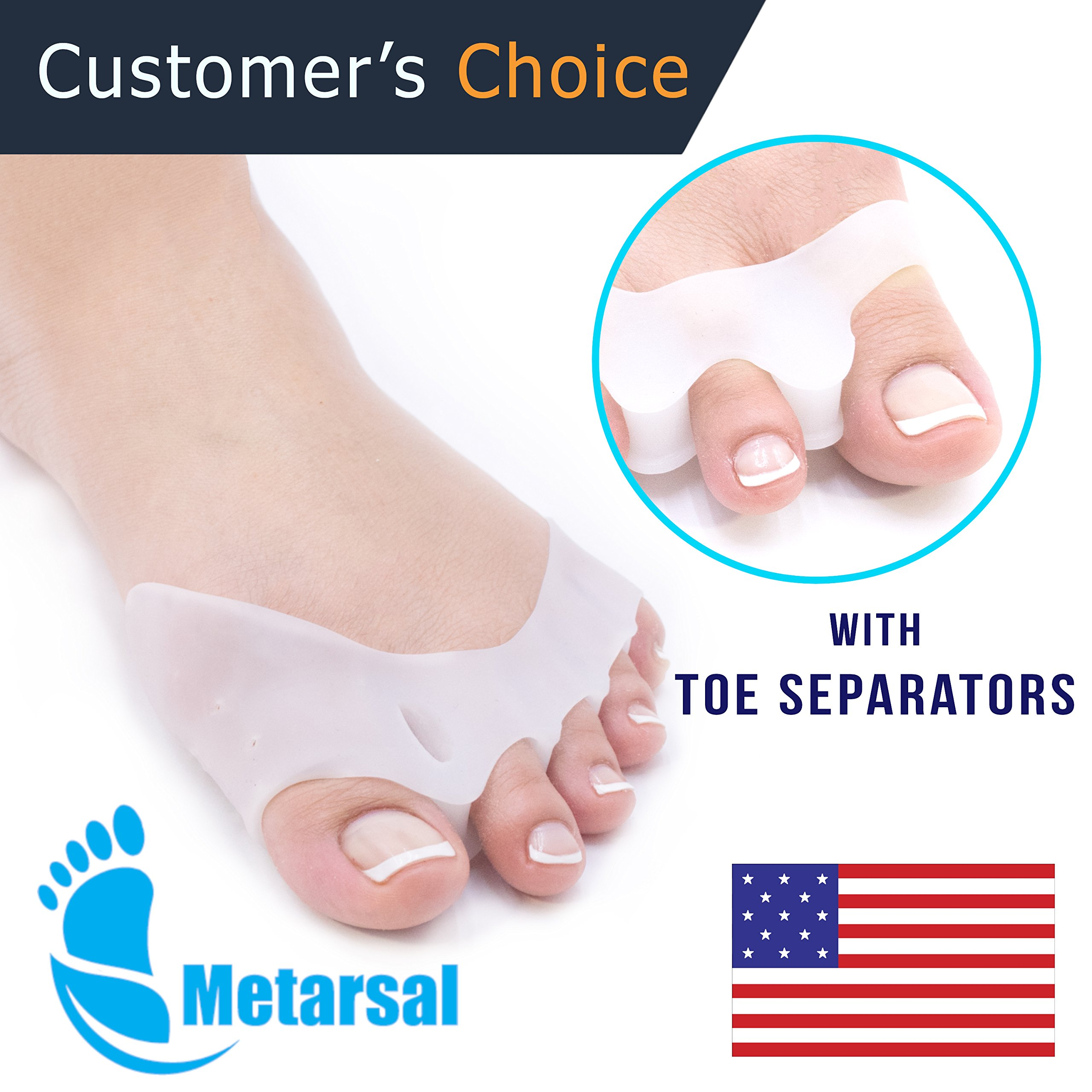 Gel Metatarsal Cushion Toe Separators,Bunion Pad,Bunion Support, Forefoot Pad, Ball of Foot, Forefoot Support, Barefoot, Forefoot Pain, Forefoot Cushions, Prevent Calluses and Blisters by Metarsal