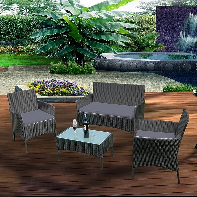 Froadp Conjuntos de Muebles de jardín de ratán Negro - con sofá de Dos plazas, sillones Individuales, Mesa y cojín de Asiento de Antracita - Salón de ...