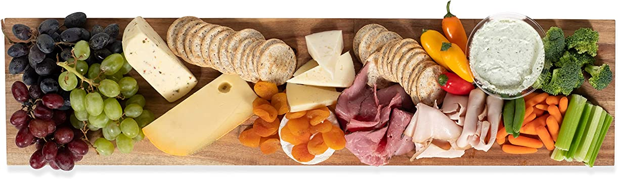 Amazon Com Wall Mountable Rectangular Charcuterie Cheese Serving Board And Decor Original Acacia Wood Kitchen Dining
