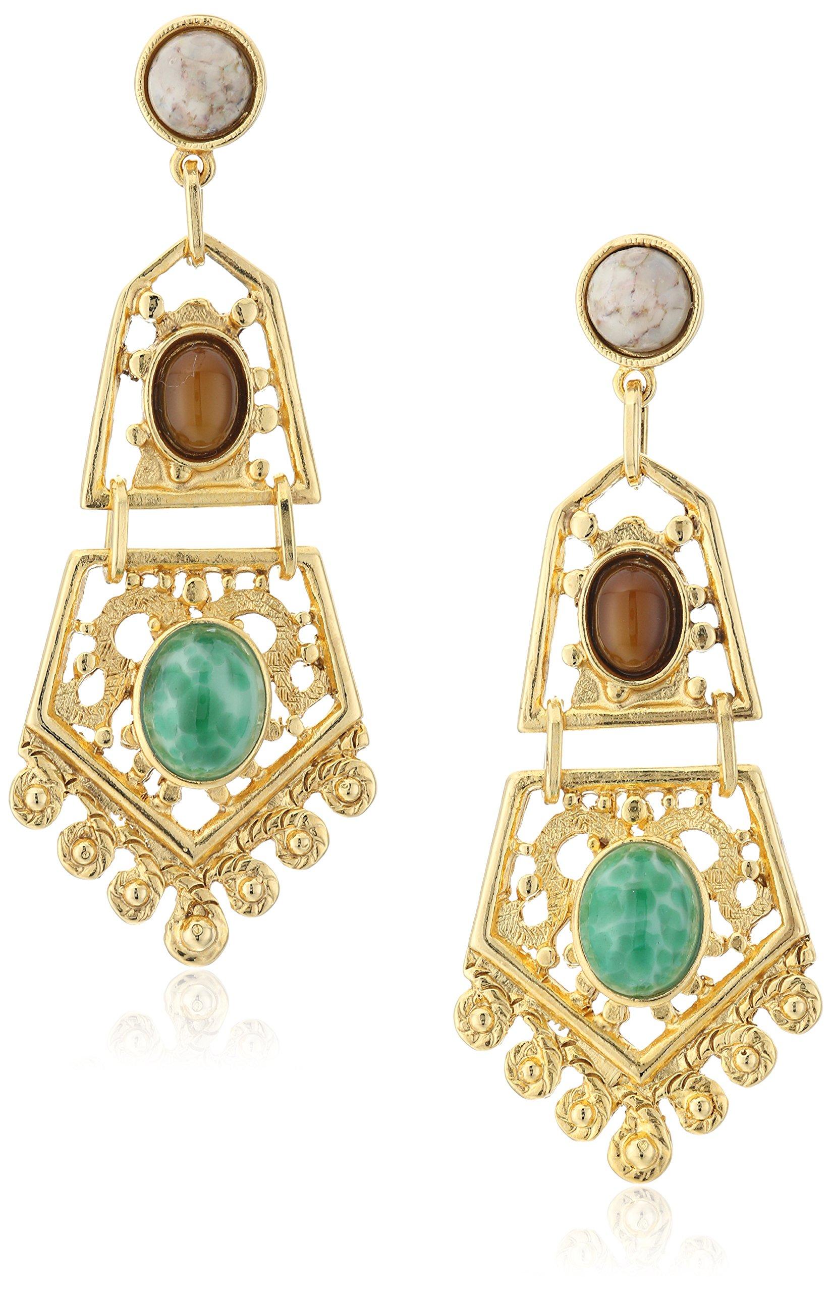 Ben-Amun Jewelry Bohemian Fligree Stone Drop Earrings