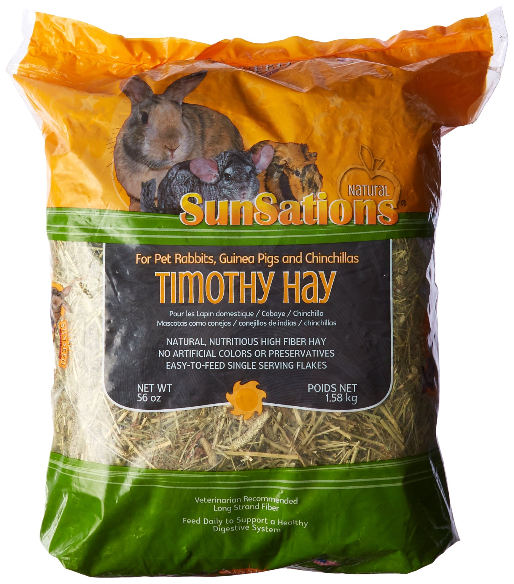 Sun Seed Company Sss88044 3-Pack Sunnatural Select Spring Harvest Small Animal Timothy Hay, 56-Ounce by Sun Seed