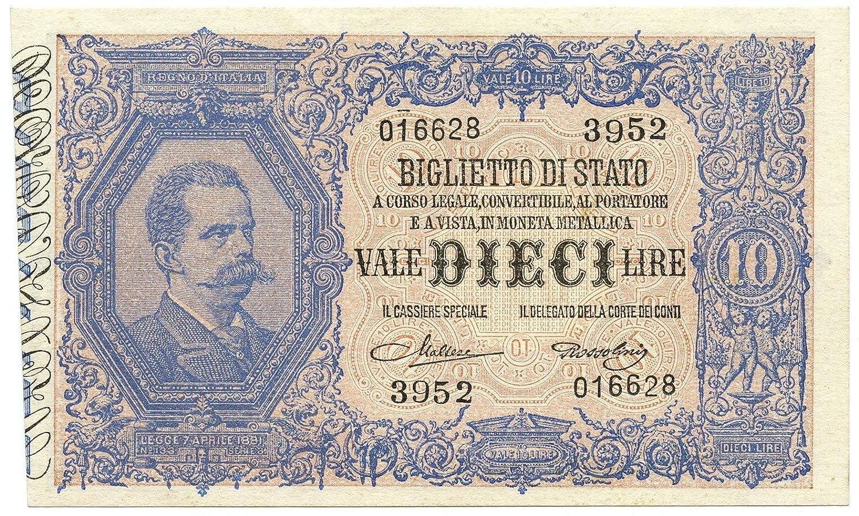 Cartamoneta  10 Lire Biglietto di Stato EFFIGE Umberto I 19 05 1923 SPL+