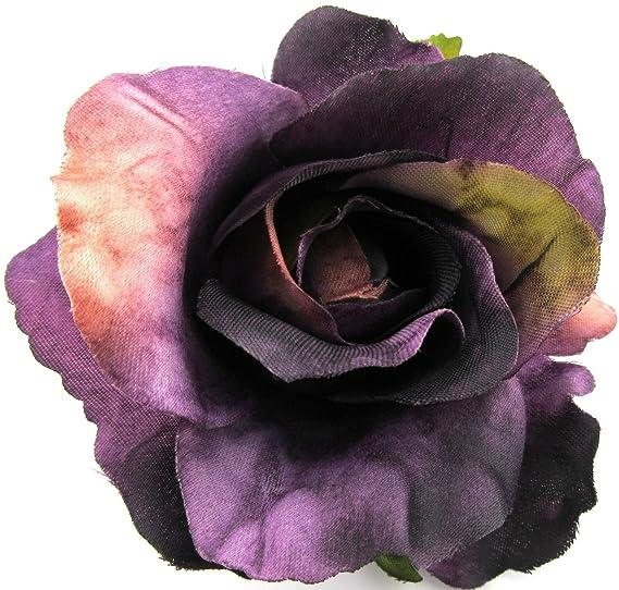 Amazon 3 Purple Rose Poly Silk Flower Hair Clip Clothing