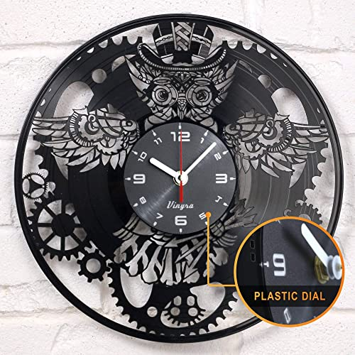 Steampunk Clock – Owl Vinyl Clock – Steampunk Owl – Industrial Wall Clock – Steampunk Gears Decor Retro Wall Gothic Grandfather Vinyl Gift Victorian Wall Decal Steampunk Novelty Owl Vinyl Clock Black