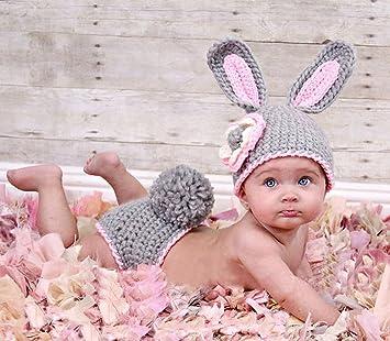 Baby Häkelkostüm Strick Kostüm Fotoshooting Baby Fotos Ostern Bunny Hase Grau