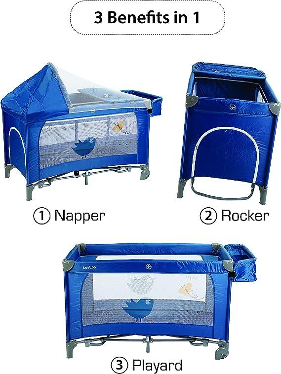 LuvLap Wonderjoy Baby Playpen Playard / Folding Baby Bed Cum Cot / Convertible Crib - (Blue)