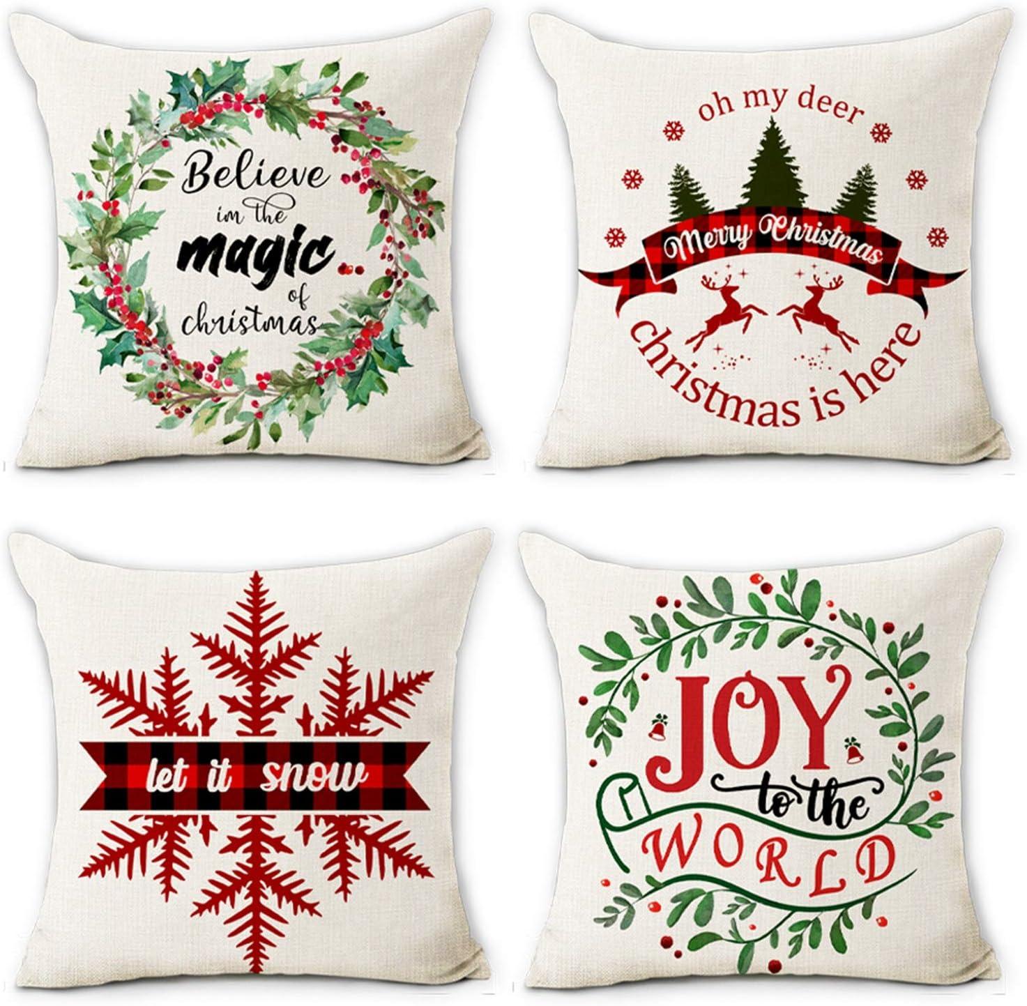 Hexagram Christmas Pillow Covers 18x18 Set of 4 Cotton Line Farmhouse Home Decor Cusion Pillow Case Winter Holiday Christmas Throw Pillow Cover