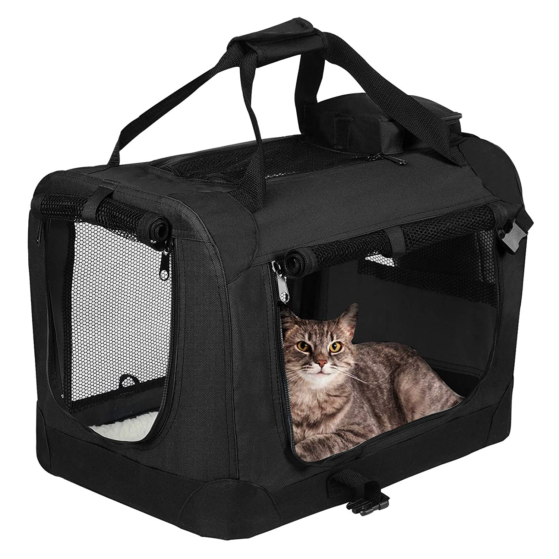 EUGAD Bolsa de Transporte para Mascotas Transport/ín de Mascotas Perros Gato Plegable para Coche Viaje Avion con Coj/ín Acolchada XXL//91,4x63,5x63,5 cm Violeta 0132HT