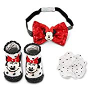 Disney Baby Girls' Minnie Mouse Headband with Hair Clip and Booties Gift Set, red, White. Black, 0-12M