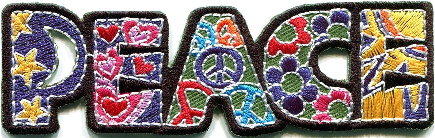 60s -70s  Men's Costumes : Hippie, Disco, Beatles HHO Peace sign hippie boho retro flower power summer of love hippy applique Patches Cute Applique Sew Iron on Kids Craft Patch for Bags Jackets Jeans Clothes $7.19 AT vintagedancer.com