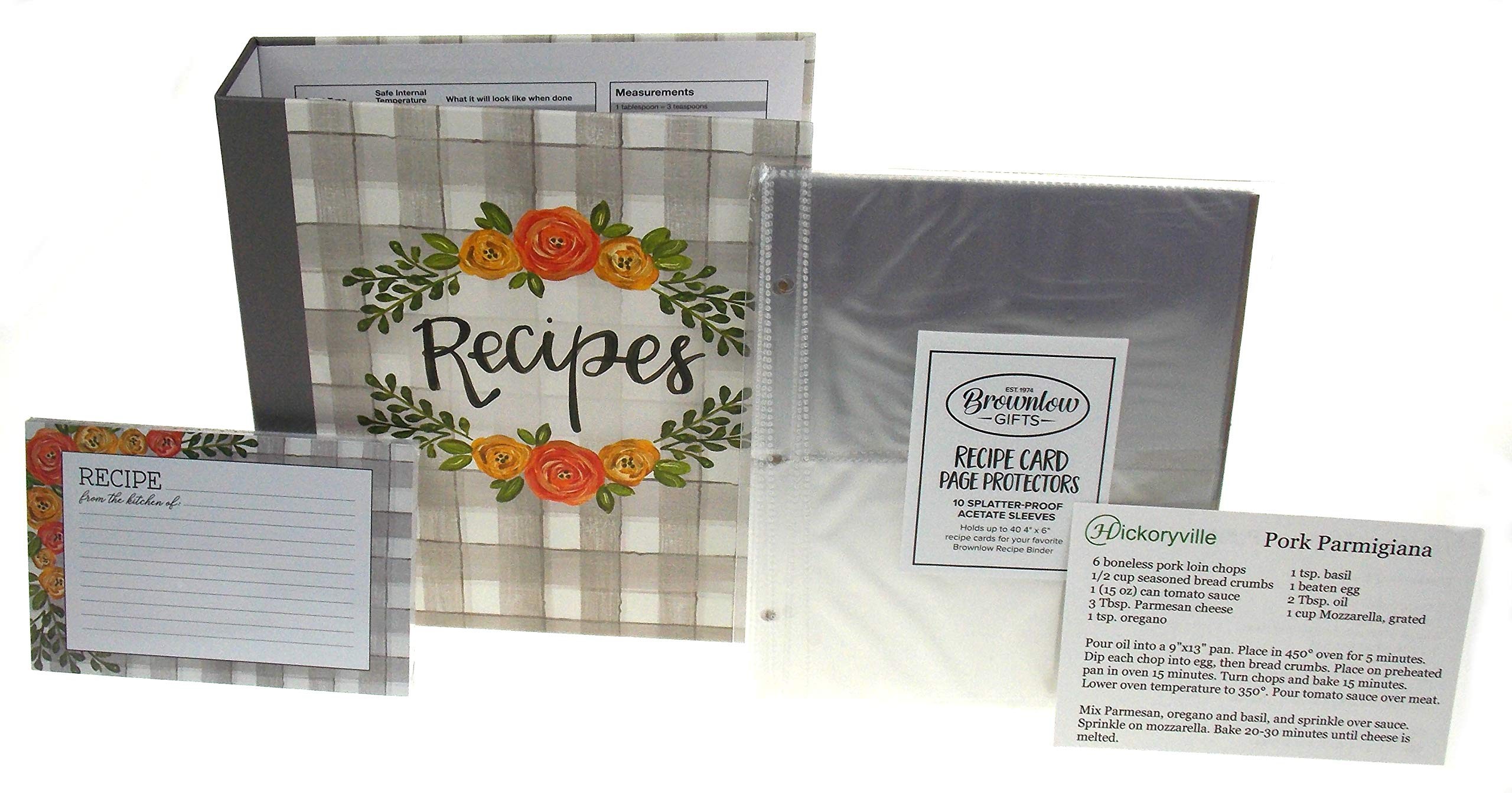 Recipe Book Bundle - Brownlow Floral Recipe Binder, 4 x 6 Recipe Cards, Tabbed Dividers, Extra Recipe Cards, Protector Pages & 2 Bonus Recipes by Hickoryville by Hickoryville