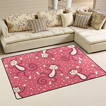 Amazon.com: Red Area Rugs 1.6x2.5 Cute Cartoon Monkey Pink Area Rugs ...
