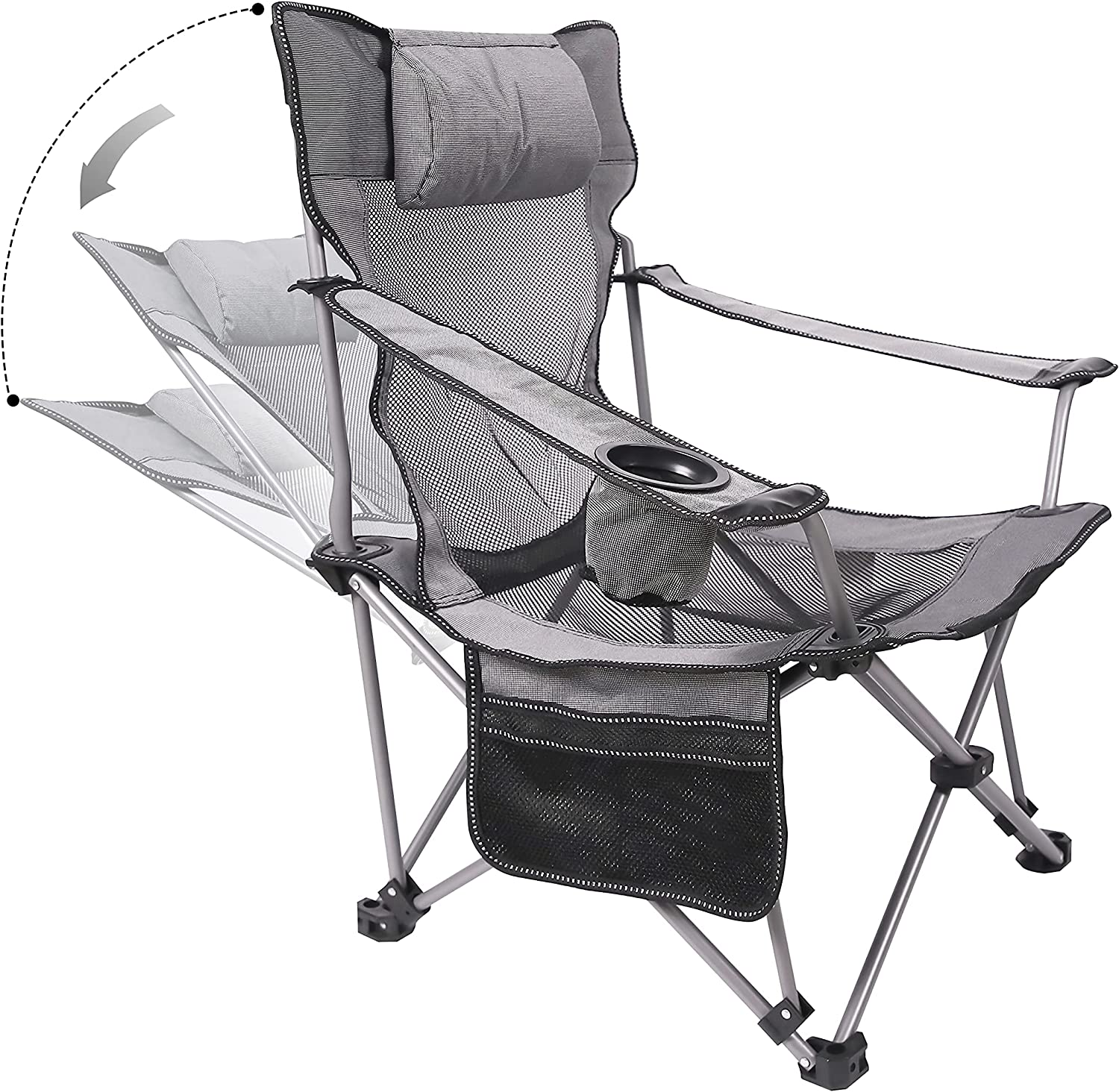 Phiroop Folding Camping Chair Adjustable Lounge Recliner Portable Oversized Steel Frame Collapsible Lawn Outdoor Chair with Cup Holder & Pillow (Dark Gray)