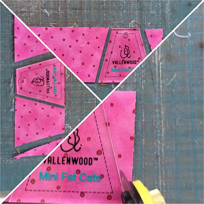 Vallenwood Mini Mixed Quilting Ruler Acrylic Templates Jelly Roll Template Rulers Set of 5 120 Degree Triangle and Fat Cats Companion Angle Mini Hexagon Octogon Template