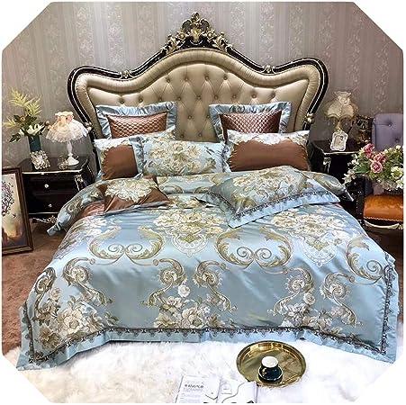 Jacquard, juego de cama floral azul satén como seda y algodón, funda de edredón de sábana plana, fundas de almohada, algodón, Juego de cama., King size 10Pieces: Amazon.es: Hogar