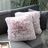Uhomy 2 Packs Home Decorative Luxury Series Super Soft Plush Faux Fur Throw Pillow Cover Cushion Case for Sofa/Bed 18x18…