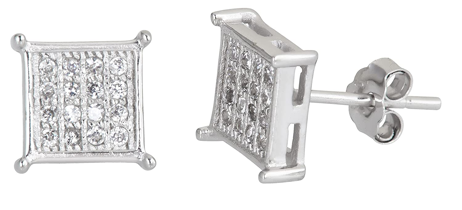 Sterling Silver 4x4 Micropave Square Stud