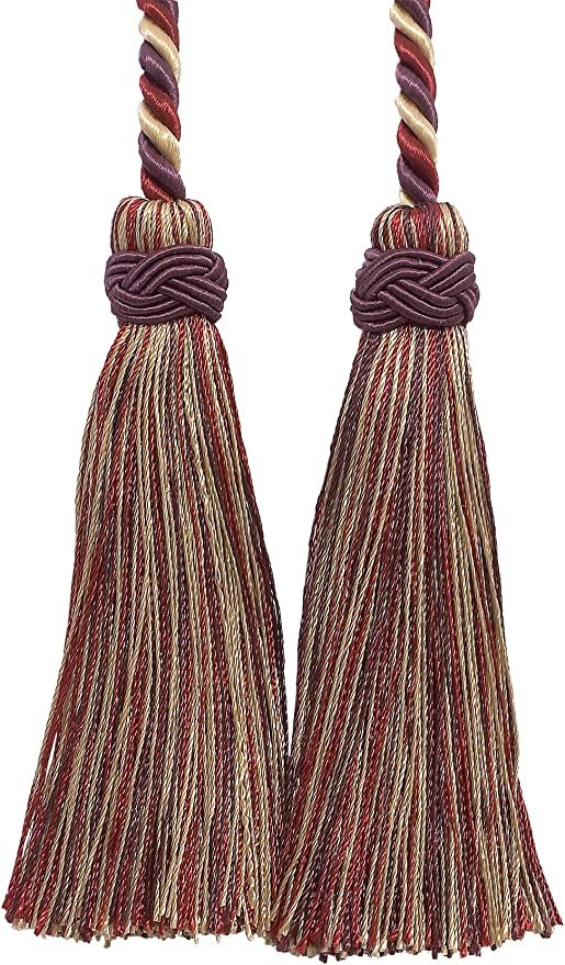 Beige Taupe//Tassel Tie with 3.5 inch Tassels Baroque Collection Style# BCT Color: Cranberry Harvest 8612 D/ÉCOPRO Double Tassel//Burgundy