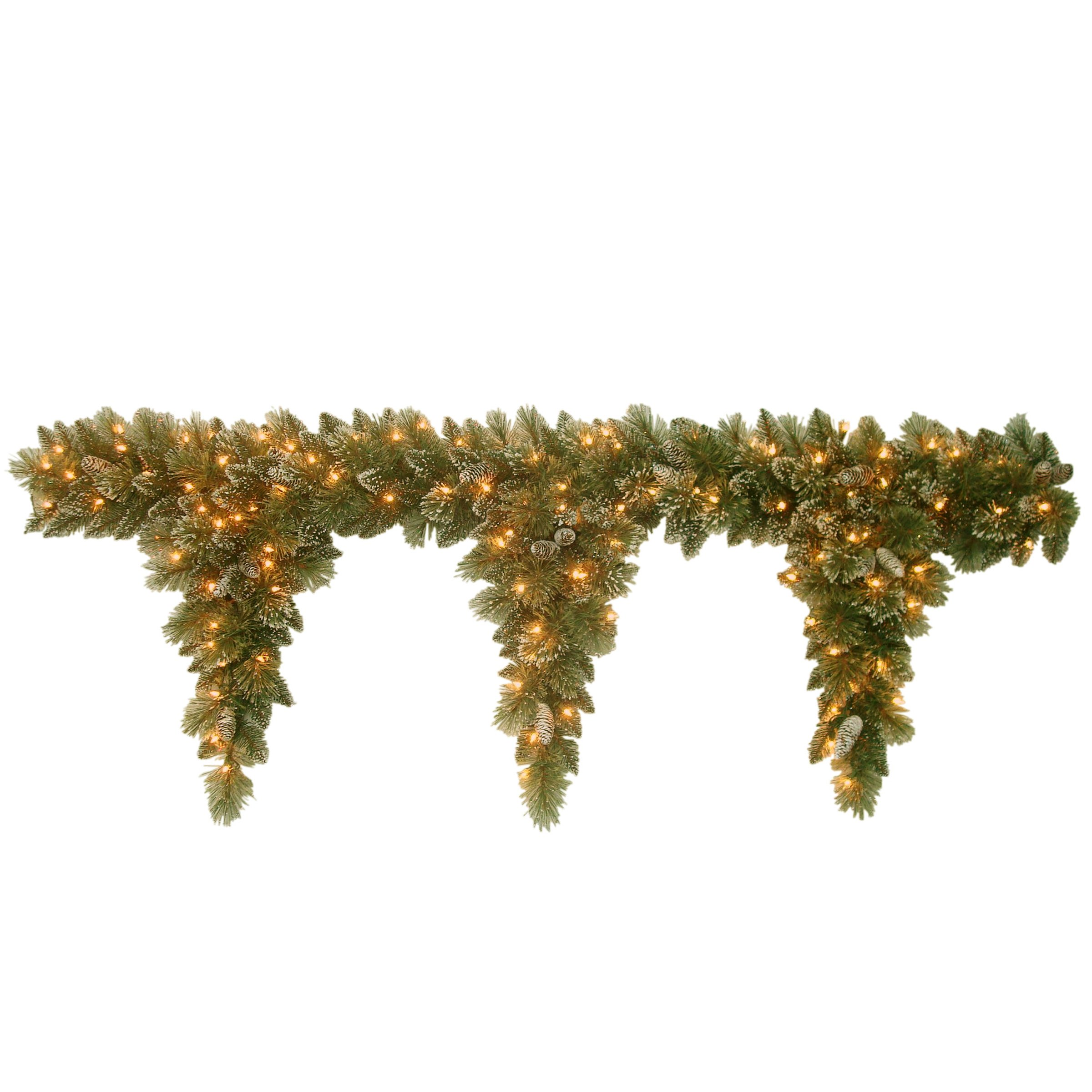 National Tree 6 Foot Glittery Bristle Pine Teardrop Garland with 3 Drops, Cones and 50 Clear Lights (GB1-300-6T-1)